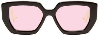 Gucci Black and Off-White Thick Square Sunglasses