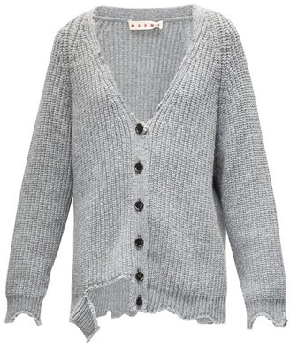 Marni Oversized Distressed Wool Cardigan - Grey