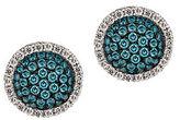 LeVian Exotics Vanilla Diamond, Blueberry Diamond and 14K Vanilla Gold Button Stud Earrings