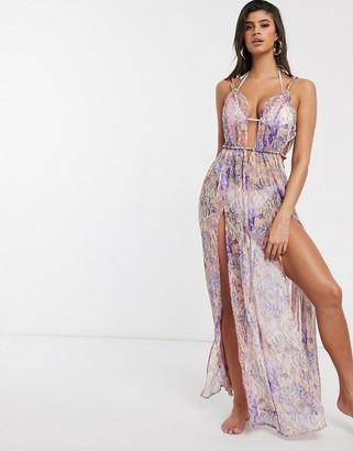 Asos DESIGN rope detail chiffon beach dress in animal floral print