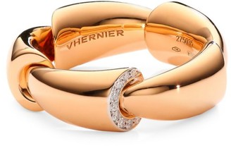 Vhernier Calla 18K Rose Gold, Titanium & 1-Edge Diamond Pave Ring