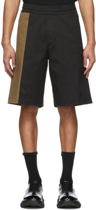 Neil Barrett Black and Tan Oversize Workwear Shorts