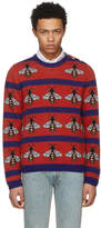 Gucci Red and Navy Striped Bee Sweater
