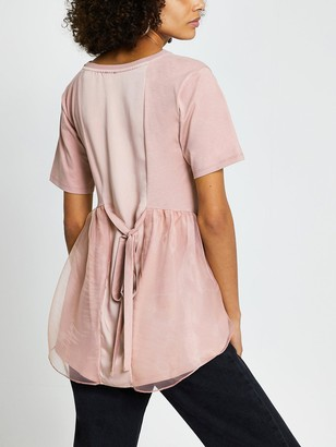 River Island Kindness Woven Tie Back Tee - Pink