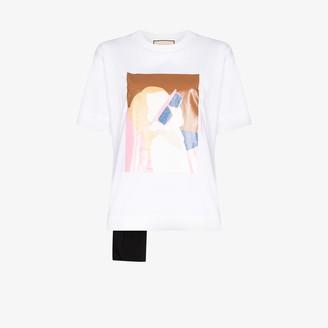 Plan C graphic print applique pocket T-shirt
