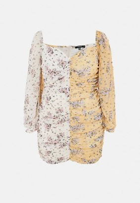 Missguided Size Yellow Ditsy Floral Print Ruched Mini Dress