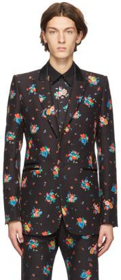 Paco Rabanne Black Floral Print Blazer