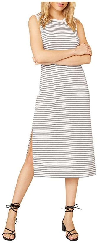 BB Dakota French Toast Striped French Terry Dress (Light Heather Grey) Women's Clothing