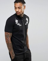 Asos Polo Shirt In Black With White Rose Yoke Embroidery