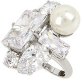 Betsey Johnson Faux Pearl & Crystal Ring