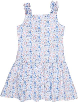 Florence Eiseman Girl's Floral-Print Shirred Cotton Dress, Size 7-12