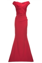Quiz Red Bardot Lace Fishtail Maxi Dress