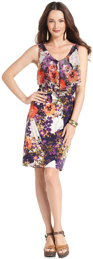 Style&Co. Petite Dress, Sleeveless Floral-Print Blouson