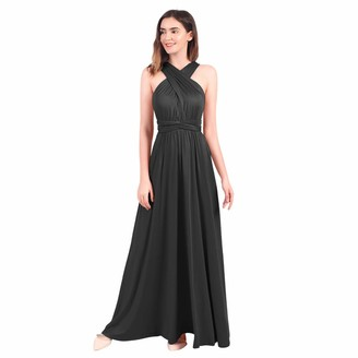 Ibtom Castle Womens Sexy Convertible Multi Way Wrap Transformer Solid Cocktail Off Shoulder Wedding Bridesmaid Evening Long Maxi Dress Floor Length Bandage Pageant Prom Ball Gowns Light Brown L