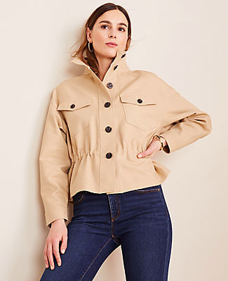 Ann Taylor Tall Drawstring Stand Collar Jacket