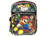 "Nintendo Backpack Super Mario Black Power Up 16"" School Bag New 405280"