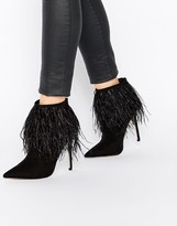 Little Mistress Crawford Point Toe Heeled Boots with Feather Detail