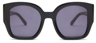 Karen Walker Checkmate Oversized Acetate Sunglasses - Womens - Black Grey