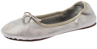 Chanel Metallic Silver Suede CC Bow Scrunch Ballet Flats Size 41