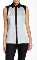 L.A.M.B. Hammered Silk Split Back Blouse