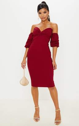Ooh! La Oohla Scarlet Bardot Twist Detail Midi Dress