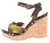 Miu Miu Floral Platform Wedge Sandals