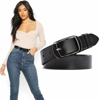 WERFORU Ladies Leather Belt Ladies Black Waist Belt with Polished Buckle for Jeans Trousers Dresses - Black - Small