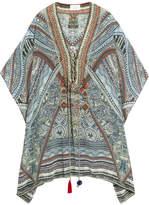 Camilla Chinese Whispers Embellished Printed Silk Crepe De Chine Kaftan - Light blue