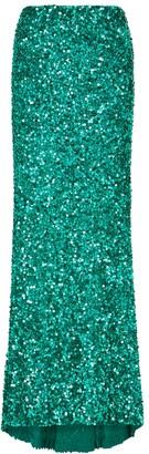 Alice + Olivia Charity green sequin maxi skirt