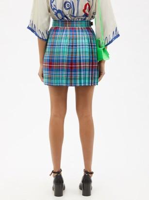 Charles Jeffrey Loverboy Tartan Pleated Cotton-twill Mini Skirt - Blue Multi