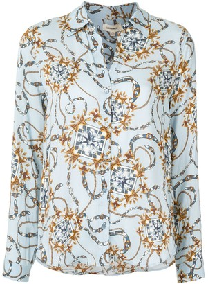 L'Agence Chain Print Long-Sleeve Blouse
