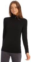 S.O.H.O New York Wool & Bamboo Thermal Roll-Neck Long-Sleeve Top in Black
