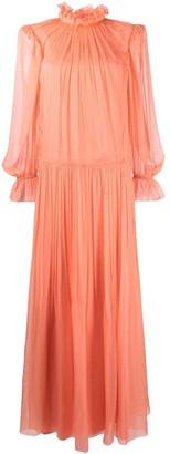 Alberta Ferretti High Neck Ruffled Gown