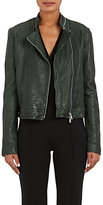 L'Agence Women's Devon Leather Moto Jacket-DARK GREEN