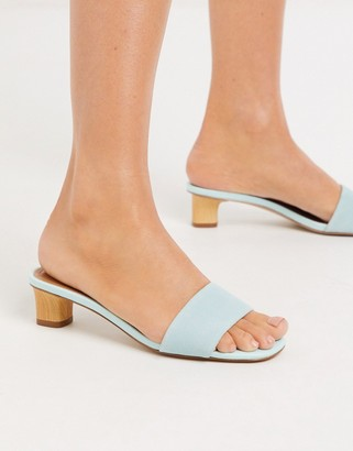 Who What Wear Nicola block mid heeled sandals in aqua blue leather