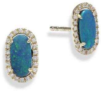 Meira T Diamond & Opal Stud Earrings