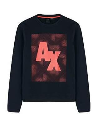 Armani Exchange A|X Men's Crewneck Fleece Logo Long Sleeve Pullover