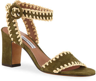 Tabitha Simmons Leticia Whipstitched Suede Ankle-Wrap Sandals, Olive