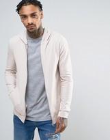 Asos Lightweight Muscle Zip-Up Hoodie In Pink