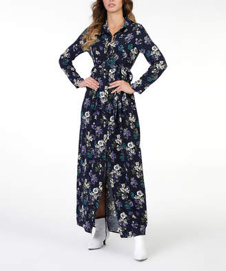 New Laviva Women's Casual Dresses Navy - Navy Floral Belted Maxi Shirt Dress - Women & Juniors