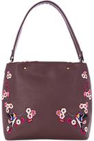 Oasis Embroidered Hobo Bag, Burgundy