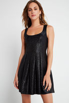 BCBGeneration Metallic Foil Flare Dress - Black