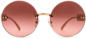 Versace Medusa Round Sunglasses in Pink Gold   FWRD
