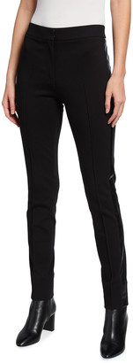 Akris Punto Mara Stretch-Jersey Pants w/ Tuxedo Stripes