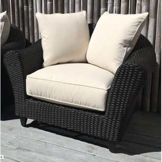 Darby Home Co Vickey Outdoor Wicker Patio Chair with Sunbrella Cushions Cushion Color: Vapor