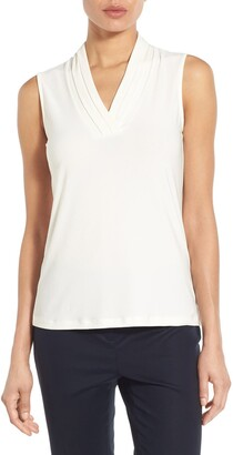 Anne Klein Triple Pleat V-Neck Jersey Top
