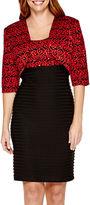 R & M Richards R&M Richards 3/4-Sleeve Lace Shutter-Pleat Jacket Dress - Petite