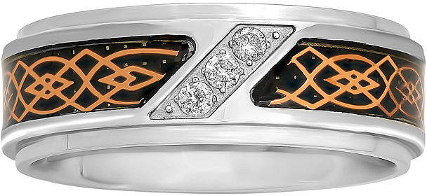 JCPenney MODERN BRIDE Mens 1/10 CT. T.W. Diamond Tribal Inlay 8mm Wedding Band