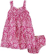 Nicole Miller Cotton Sateen Printed Dress - Fuschia Purple-12 Months