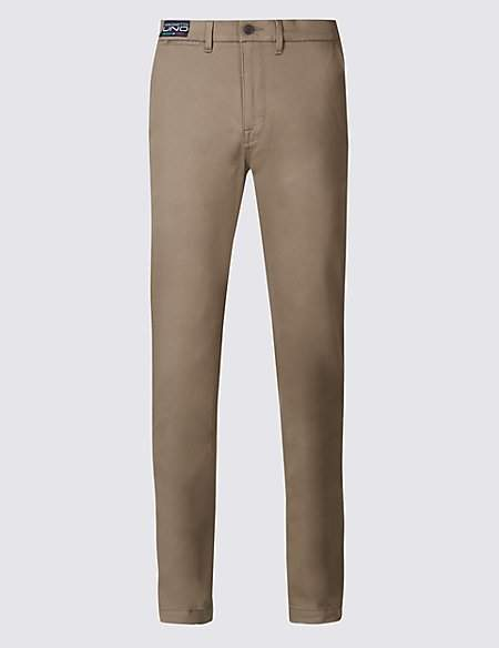 M&S Collection Straight Fit Cotton Trousers with Stretch
